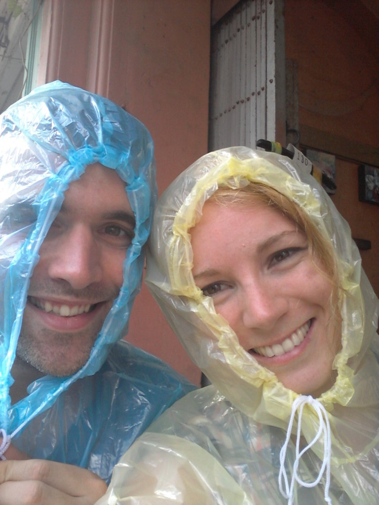 Becky and Steve braving the downpours of Thailand.