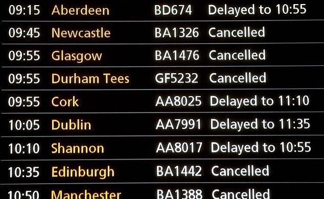 A display screen listing flights at Terminal One of Heathrow Air